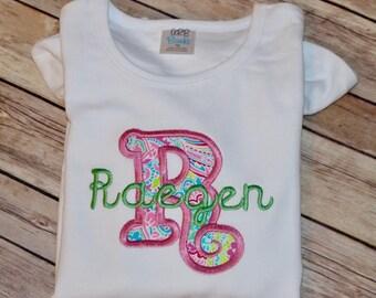 Monogrammed Embroidery Shirt; Girls Applique Shirt; Shirt with name; Custom Shirt