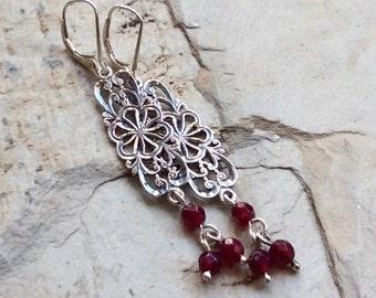 Drop garnet earrings, Sterling silver earrings, boho earrings, filigree earrings, gypsy earrings, hippie earrings - In your arms - E8030