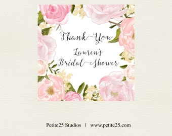 Thank You tags, Pink Peony Bridal Shower Favor tags, Gift Tags, soft pink watercolor