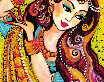 Indian dance art feminine beauty Indian bride art affordable art gift Indian woman painting Indian decor art, signed art print 8x11+