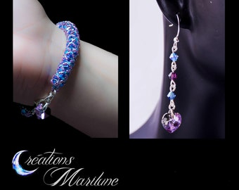 Woven bracelet, Woven, Swarovski bracelet, Swarovski cristal, earring, heart