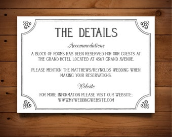 Printable Info Card - Info Card Template - DIY Wedding Template - Rustic Info Card - Instant Download - Hyacinth Collection