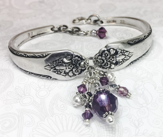 Silver Spoon Bracelet, Purple Crystals, Dragonfly & White Pearls, 'Lovely Lady' 1937