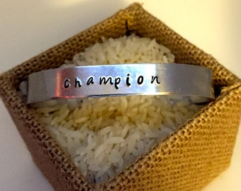 Champion (Dragon Age) hand-stamped cuff bracelet