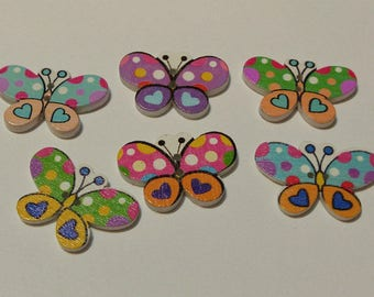 6 Mixed Colored Butterfly Buttons - #BF-00088