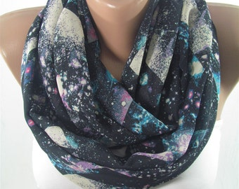 Mothers Day Gift For Her Infinity Scarf Galaxy Scarf Nebula Circle Scarf Loop Scarf Winter Fashion Scarf  Fashion Accessory Gift For Mom