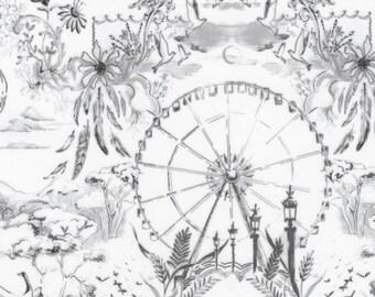 Cream & Gray Toile Scene Fabric, Robert Kaufman Black and White 2 Collection, 16294 181 Onyx, Jennifer Sampou, Toile Quilt Fabric, Cotton