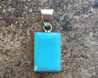 Turquoise Rectangle Pendant in Sterling Silver