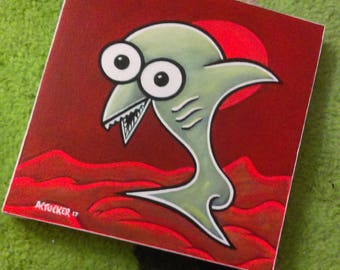 Sharky - Acrylic Original Abstract Animal Painting with Red