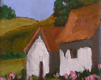 Miniature Impressionist Oil Painting 4x4 Plein Air California Farm Barn Wildflower Garden Landscape Lynne French Art