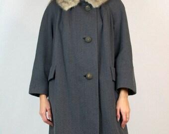 Vintage 1940s Coat Silver Mink Fur Trim Virgin Wool Long Full Length Warm Winter
