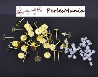 PAX 500 earring Stud bullet shape tray smooth 8mm Golden S1111064, DIY