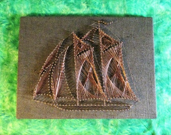 Copper Wire String Art Sailboat On Brown Canvas 60s 70s Wall Decor Vintage Boho Decoration