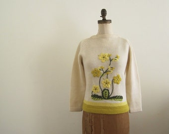 RESERVED...1960s Embroidered BOTANICAL Sweater