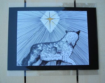 Wolf and the Star--5x7--Original Drawing--Christmas--Faber Castel Pen and Prismacolor Pencils