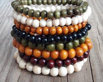 Wood bracelets wood bead bracelet yoga wood bead bracelet wood jewelry bracelet elastic wood mala bracelet wooden bracelet gift idea