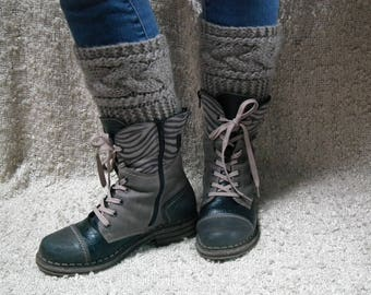 Cable knit boot cuffs/Knit Boot Toppers/Hand knit boot cuffs/Mohair boot cuffs