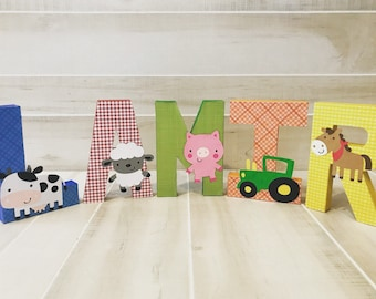 Farm barn birthday party letters with farm animals pig cow horse sheep and a tractor