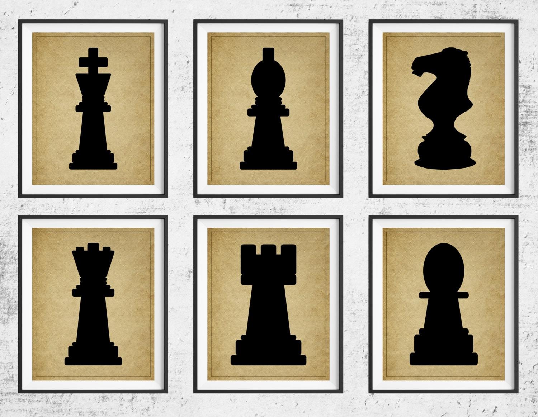Chess Art, Chess Print Set, Panel Art, Board Game Art, Game Room ...
