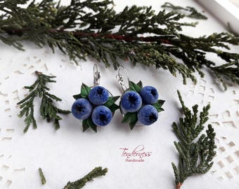 Beautiful handmade earrings with blueberries, gift for wife, daughter, mother, berry earrings
