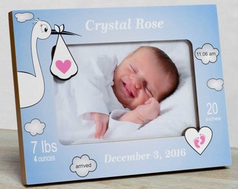 Personalized Baby Picture Frame, Baby Girl Picture Frame, New Baby Girl Frame, Baby Girl Frame, Baby Girl Birth Frame, Stork Baby Frame Girl