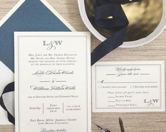 Elegant Navy Wedding Invitation, Navy Blue Wedding Invitation,  Thermography, Classic Wedding Invite, Navy Monogram, Modern Wedding Invite