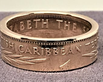 1957 British Caribbean Territories Eastern Group 1 Cent Coin Ring