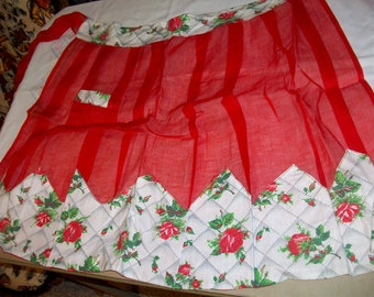 Vintage 1960 Half Apron Red Chiffon and cotton. Red Roses in the Border. 1 Pocket  bx10  82760065