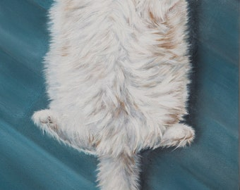 White cat, fluffy cat, oil painting, pet