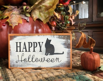 Happy Halloween - handmade seasonal rustic box sign with black cat