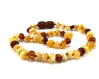 Amber Baltic Necklace Toddler Child Teething Baby Rounded Polished Cognac Butter Beads
