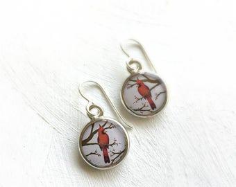 Pretty Cardinal Earrings, Red Bird Gift, Cardinal Jewelry, Bird Earrings, Wife Mom Grandma Gift Idea, Bird Watcher, Ornithologist