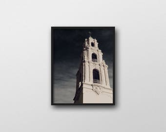 Church Architecture | Gothic Church | Digital Download | Mission Dolores San Francisco | Dark Art Print | Printable Wall Art | Dark Blue