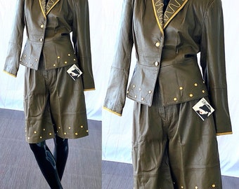 Leather Pant Suit NWT Deadstock Bellino Paris Mode Studded Embroidered Leather Suit