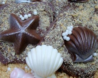 "Chocolate Graham Crackers Seashell Chocolates on ""Sand"" Beach Wedding Favors  Birthday Luau Party Favors  Rustic Wedding Favors Candy Buffet"