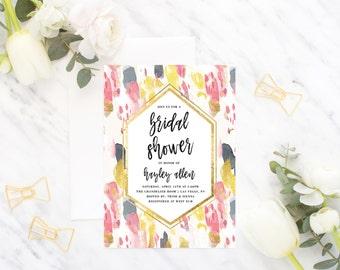 Printable Bridal Shower Invitation / Abstract, Blush Pink, Wedding Shower, Painterly