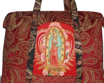 Catholic Carpet Bag, Virgin Mary Tote Bag, Catholic Retreat Bag, Blessed Mother Virgin Mary Red Carpet Bag, Catholic Luggage, Catholic Bag