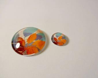 2 cabochon - Orange and blue - leaf jewelry creations - embellishment