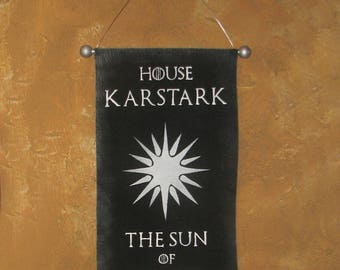 Hand Painted House Karstark Canvas Banner - Game of Thrones - The Sun of Winter - Cosplay Prop - Flag - Sign - Sigil