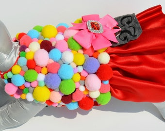 Dog Costume - Dog Halloween Costume - Gumball Machine - Pet Costume - Dog Harness - Pom pom Dog Harness - Small Dog Costume - Large Dog