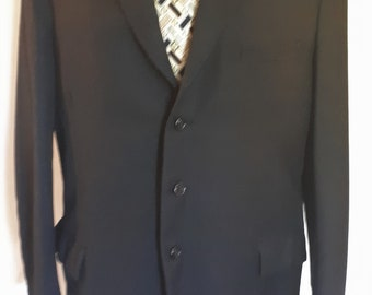 """Vintage mens black jacket blazer in heavy wool fabric silk lined Large 42"""" chest"""