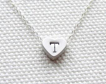 Heart Initial Necklace Custom Personalized Jewelry Tiny Heart Sterling Silver Chain Dainty Minimalist Jewelry