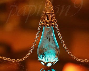 Silver Dandelion seeds / Dandelion pendant / Gold Dandelion Pendant / Teardrop Pendant / Glow in the Dark / Glass Teardrop /