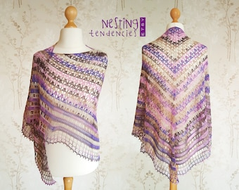 PURPLE CROCHET SHAWL. Knitted Shawl, Knit Wrap, Crocheted Shawl, Handmade Shawl, Lacy Shawl, Bamboo Shawl, Pink, Gift for Her, Summer Shawl