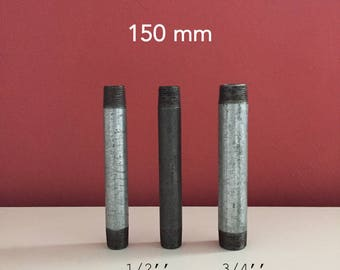 Nipple 150mm in black cast iron or galvanized steel coil