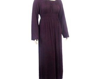 Plus Size Maxi Dress -Peasant Dress with Shirred High Waist -Choice of Color-Sleeve Length-Made to Order/Custom Fit-XL,2X,3X,4X,5X,6X,7X,8X