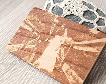 Real photograph engraving, wooden wallet insert card, personalized 5th anniversary gift, laser engraved wallet insert, double side engraving