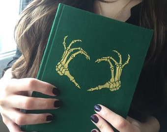 """Notebook """"Skeleton hands"""", fabric covered journal A5"""