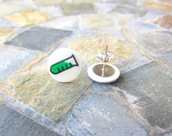 Science Earrings, Chemistry Earrings, Beaker Earrings, Test Tube Earrings, Science Jewelry, Nerd Jewelry, Nerd Earrings, Chemistry Jewelry