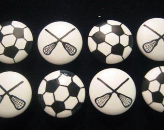Set of 8 - Soccer Balls & LaCrosse Sticks - SPORTS Drawer Knobs